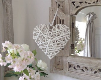 White Wicker Heart Ornament