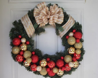 Christmas Wreath, Holiday Wreath, Evergreen Wreath, Door Decoration, Door Decor, Red and Gold