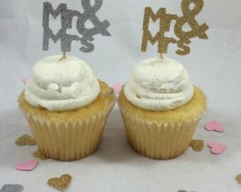 20 Mr Mrs Glitter Wedding Bridal Cupcake Toppers  ~ wedding cupcake toppers ~ wedding cupcake decoration ~ dessert table ~ candy buffet ~