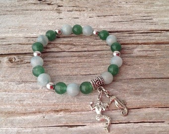 Mermaid and Seahorse Gemstone Bracelet