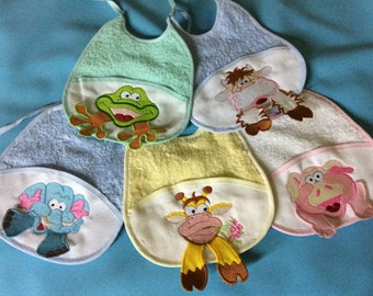 Embroidered bib various colors