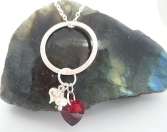 Swarovski Heart Necklace, Red Swarovski Heart and Freshwater Pearl Eternal Love Necklace, 2 ways to wear.  Silver Plated.