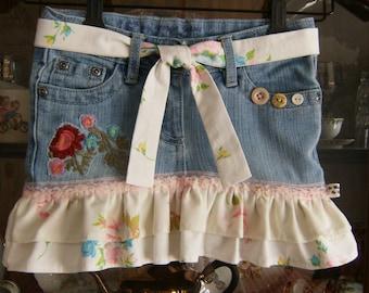 Girl's size 5 Skirt, Girl's Denim Skirt size 5, Upcycled Size 5 Girl's Skirt