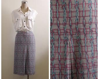 Two Dollars Sale - Vintage nautical knots print midi skirt