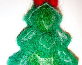 Woolen flower brooch, Christmas tree