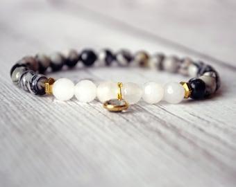 Healing Bracelet - Gemstone Bracelet - Yoga Bracelet - Quartz Crystal - Jasper Bracelet - Beaded Bracelet - Healing Crystals and Stones