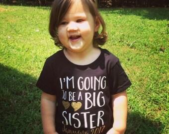 I'm Going To Be a Big Sister Shirt;Short Sleeve Black T-shirt;Kid's Big Sister Shirt;Announcement Shirt;Custom Big Sister Shirt;Black Tee