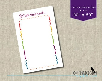 Rainbow Printable Weekly Task Planner Half Page - Planner Sheet - Menu Planner - Homework Planner - Task Planner - Appointment Planner