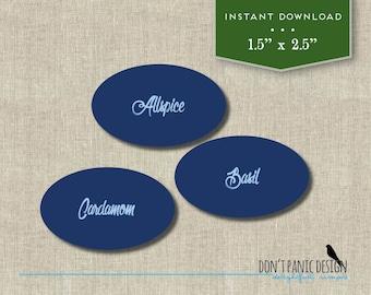 Printable Spice Jar Labels - Elegant Blue Spice Jar Labels - Home Organizing - Printable Stickers - Instant Download