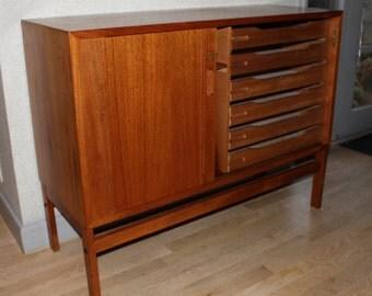 Danish teak sideboard with six drawers and tambour door