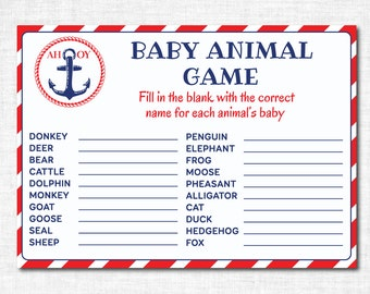 baby shower baby animal name game anchor baby shower game nautical