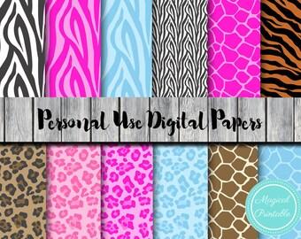 Jungle Digital Paper, Instant Download Digital Papers, Safari, scrapbook Digital Papers, Digital Background, DP35