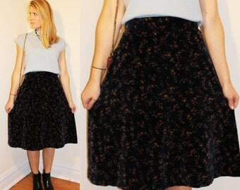 70s Vintage Velvet Floral A-Line Skirt