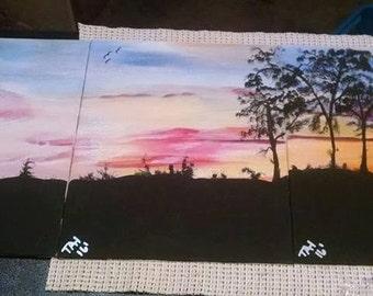 "Trio Set Of a Panoramic Sunset ""Nature's Hue"" Acrylic OOAK"