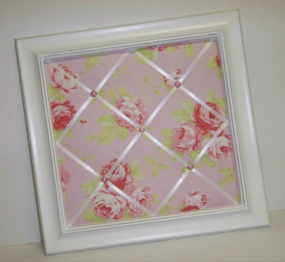 Pink Lulu Rose fabric Framed Memo Board