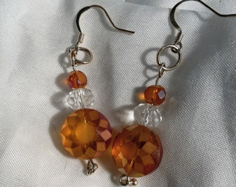 orange sunburst dangle earrings