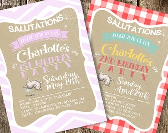 Charlotte's Web Party Invitation Printable 5x7 Pink Chevron or Red Gingham