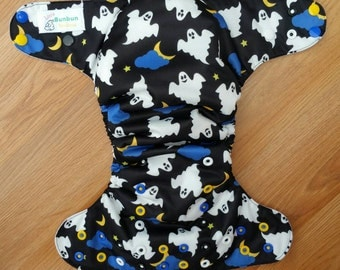 Ghost cloth diaper - AIO cloth diaper - one size cloth diaper - hemp bamboo - cv inner - halloween - ghost cloth diaper
