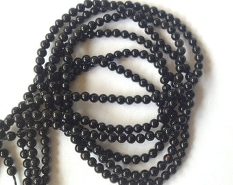 40% OFF Store Wide SALE!!! 2mm - Smooth AA Black Onyx Beads - 140 Beads