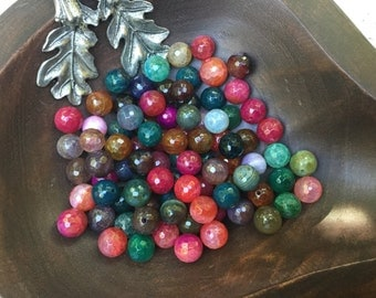 40 Beads -10mm - Fire Agate Dark Green Red Mix Beads