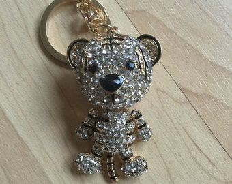 Cute Tiger Keychain Purse Charm With Rhinestones Crystals Ship From NY