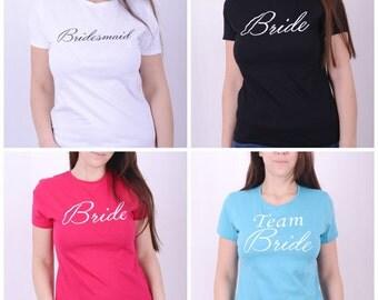 Sale Bridesmaid Tshirt Bachelorette Party Tee t-shirt Bridesmaids Gift Team Bride T-shirt Bridal Party Tshirt Bride Maid of Honor