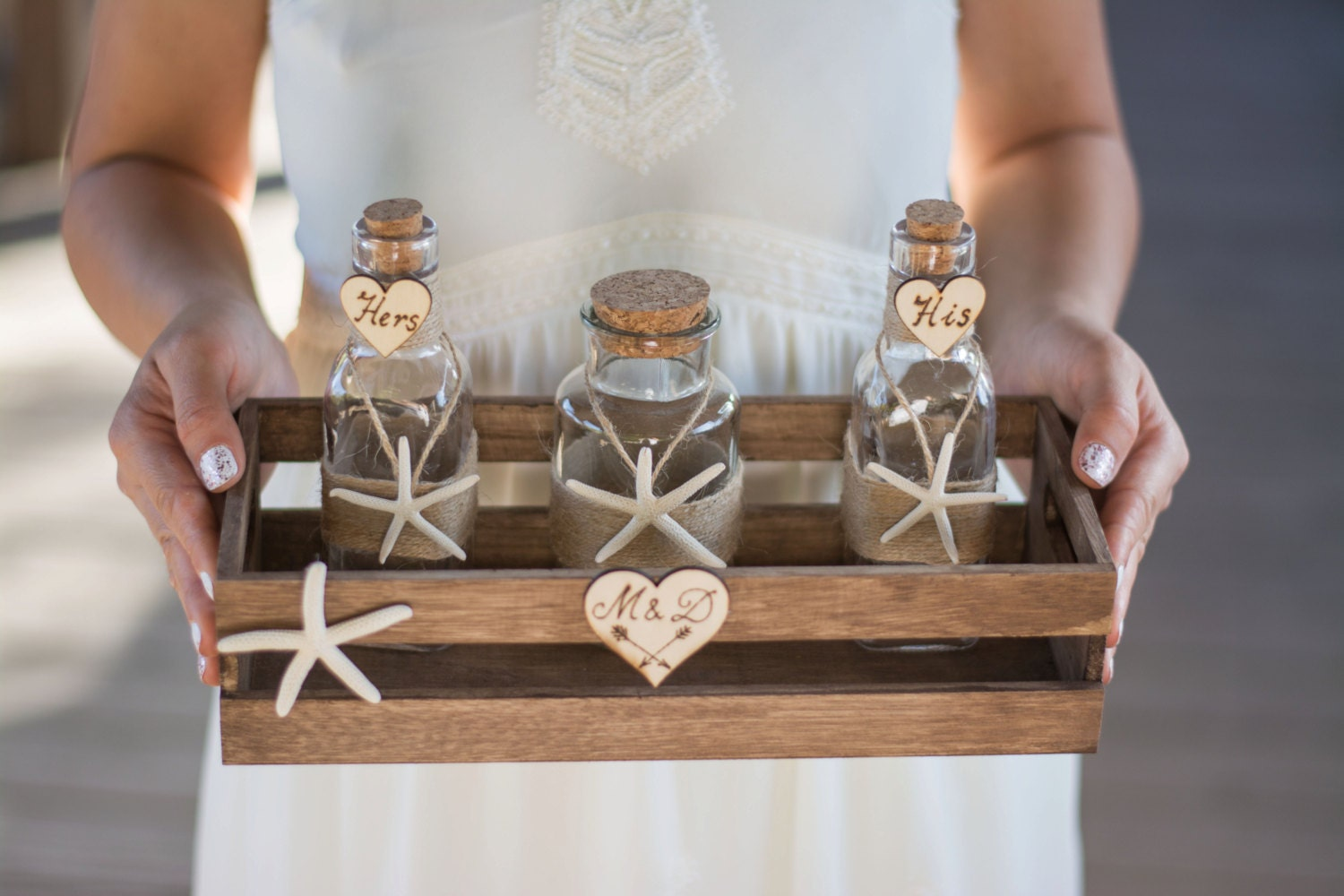 Sand Unity Ceremony Set Beach Wedding Starfish Jars