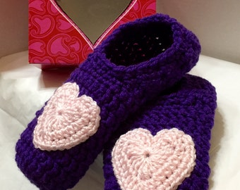 Women's Slippers Sz 9/10, Crochet Slippers Wms, Heart Slippers, Gift Boxed Slippers, Crochet House Shoes