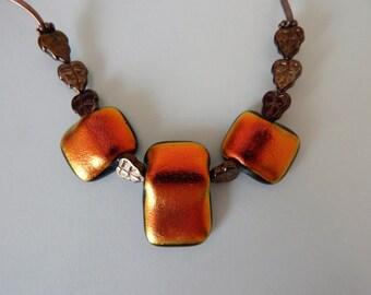Antique Cooper Fused Glass Necklace