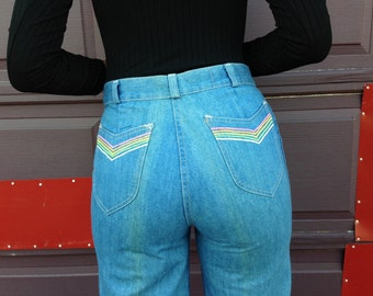 1970s RAINBOW POCKET wide legged jeans by FOXMOOR