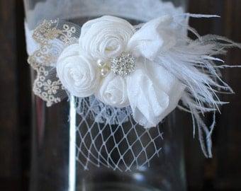 Coutoure Headband, Vintage inspired headband, Lace headband, White Headband, Baptism, blessing, Rosette headband, Cageveil headband, Wedding