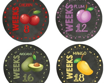 Pregnancy bump milstone, fruit stickers, belly stickers, pregnancy bump stickers, pregnancy fruit stickers, how big is my baby?