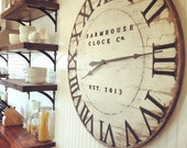 Extra Large Roman Numeral Farmhouse Clock Co. 40 inch wooden clock