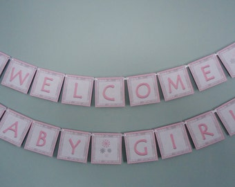 Winter Baby Banner - Welcome Baby Girl Banner - Baby Shower Banner - Winter Wonderland Snowflake - Pink and Grey