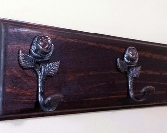 Coat/Backpack/Hat Rack With 3 Pink Tinted Antique Style Rose Hooks- Honey Color Stain