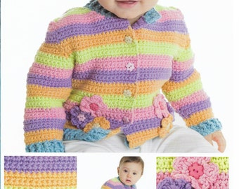 Crochet Striped Baby Cardigan with Flowers Pattern only Natura Medium Yarn