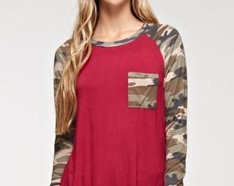 Camo/Burgundy long sleeve tunic top