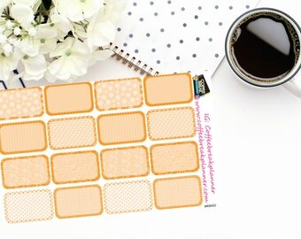 Planner Stickers | Orange Patterned Half Boxes|For use in a variety of planners|MKB002