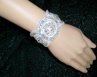 Wedding Bridal Cuff Bracelet White Rhinestone Silver Beads with Sparkle Organza Ribbon Art Deco Beautiful!