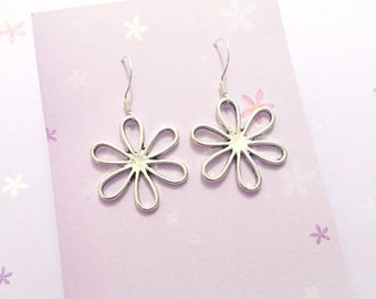 Silver Flower Earrings (925 Sterling Silver)