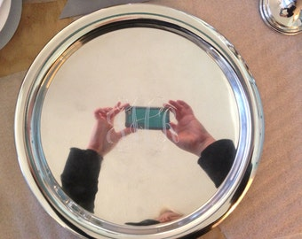 """Pewter Serving Tray 13 1/2"""""""