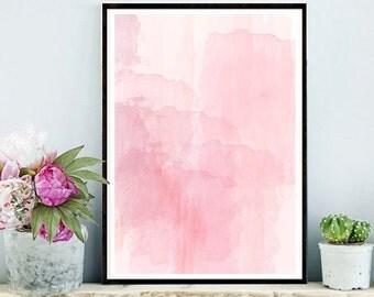 Pink Watercolor, Abstract Art Print, Printable Art, Pink Watercolour, Home Decor, Wall Decor, Pink Wall art, Nursery Print, digital Download