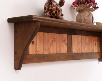 Wood Wall Shelf 35 Inches-Two colors pattern, two panels