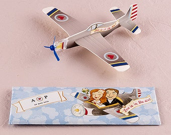 Love Is In The Air Airplane Gliders - Set of 12 - Travel Themed Wedding Reception Party Favors 8671