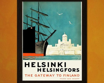 Printed on textured bamboo Art paper - Helsinki Travel Print 1930 Vintage Travel Poster Tourism  Helsinki Poster  Airline Finland Travel