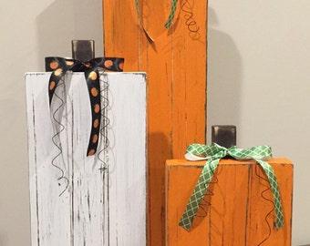 Distressed Wooden Pumpkins--Set of 3