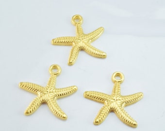 25x25mm Matte Gold Plated Sea Star Pendant with 2mm hole opening, 2mm Thickness 6pcs/PK