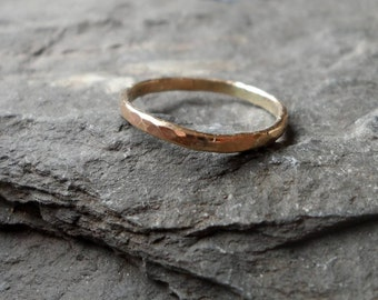 9KT Gold Stacking Ring, Gold Band, Hammered Textured Ring, Solid Gold Ring