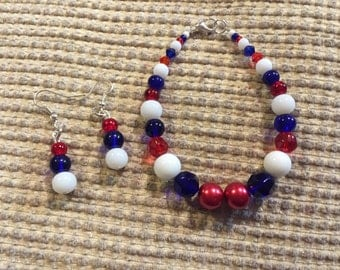 Nautical jewellery set, red white and blue jewellery, beaded jewellery set, patriotic jewellery set,