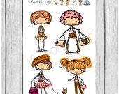 Mini Sticker Sheet - hipster girls - planner stickers